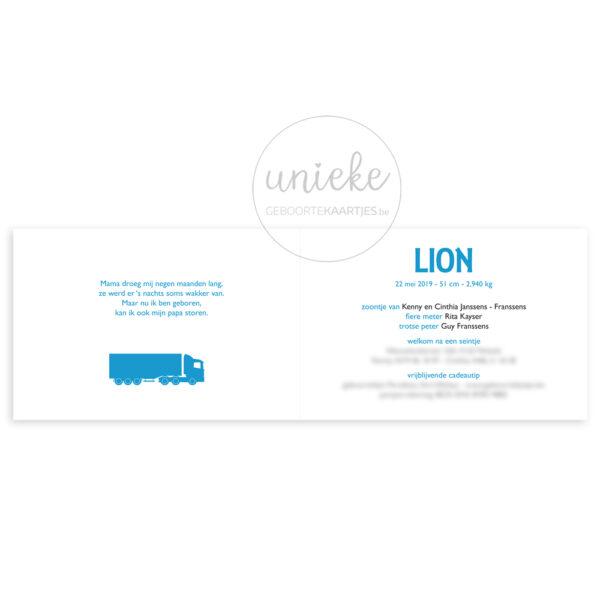 Binnenkant van het kaartje van Lion
