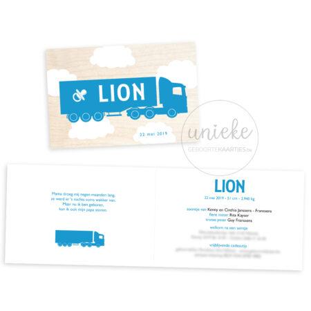 Voorkant en binnenkant van het kaartje van Lion