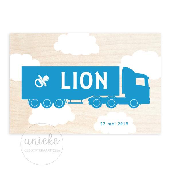 Voorkant van het kaartje van Lion