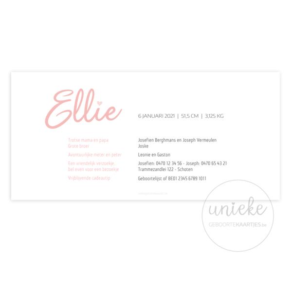 Geboortekaartje Ellie Oudroze Achterkant