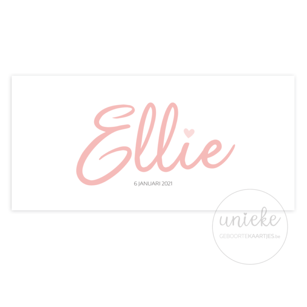 Voorkant van het kaartje van Ellie