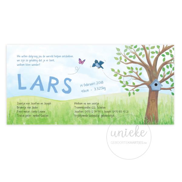 Achterkant van het kaartje van Lars