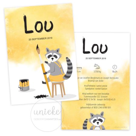Geboortekaartje van Lou