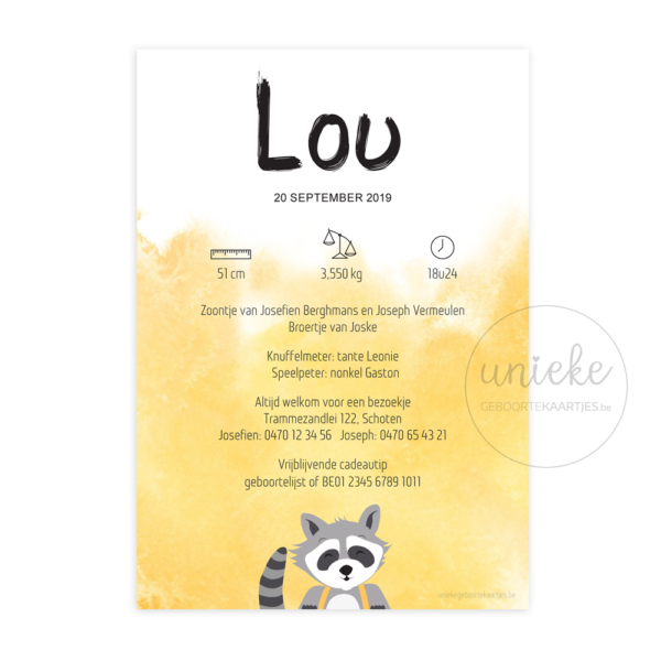 Achterkant van het kaartje van Lou