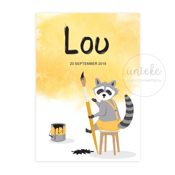 Voorkant van het kaartje van Lou
