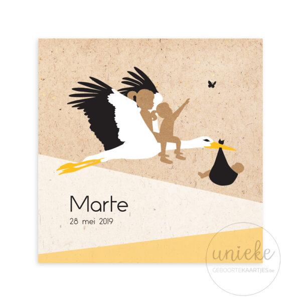 Voorkant van het geboortekaartje van Marthe