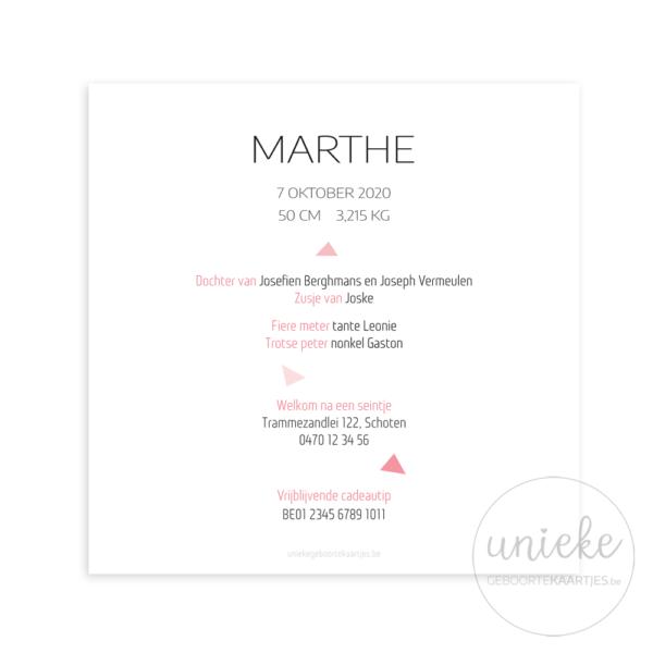 Achterkant van het kaartje van Marthe