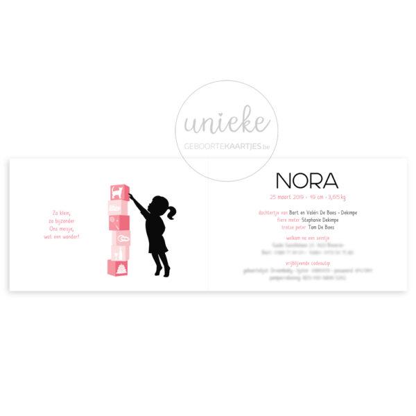 Binnenkant van het kaartje van Nora