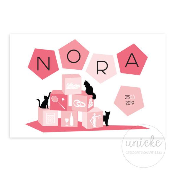 Voorzijde van het kaartje van Nora