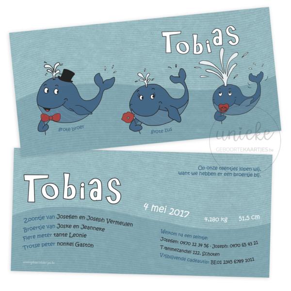 Geboortekaartje van Tobias