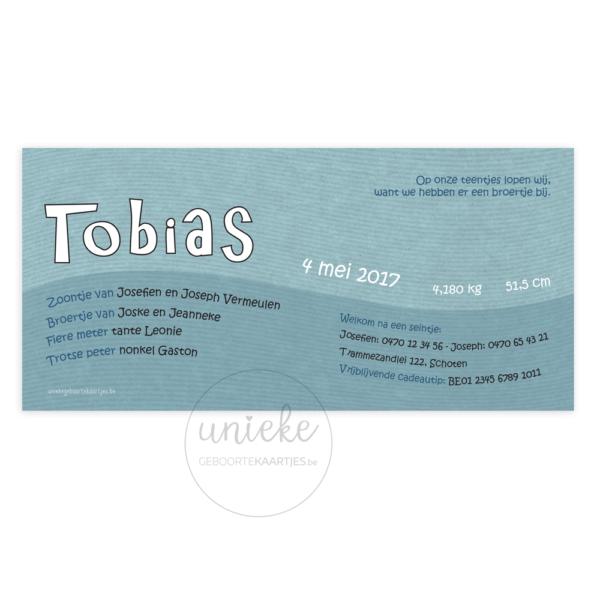Achterkant van het geboortekaartje van Tobias
