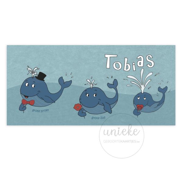 Voorkant van het geboortekaartje van Tobias