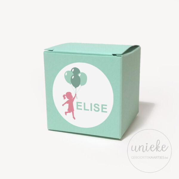 Stickertje Elise op mintgroen doosje