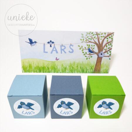 Stickertjes bij het kaartje van Lars