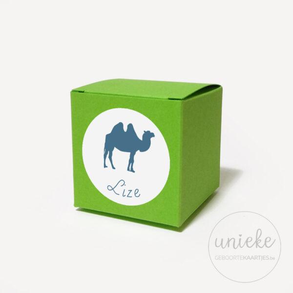 Stickertje Lize op groen doosje