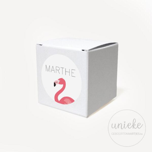 Stickertje Marthe op wit doosje