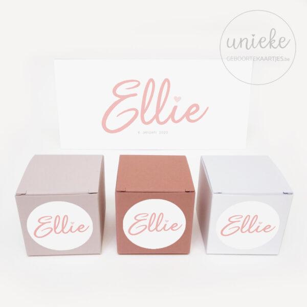 Doopsuiker stickertje bij kaartje van Ellie