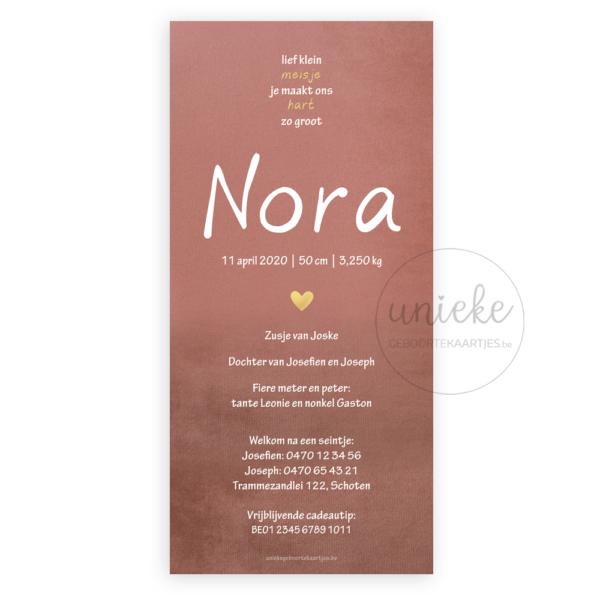 Achterkant van het kaartje van Nora