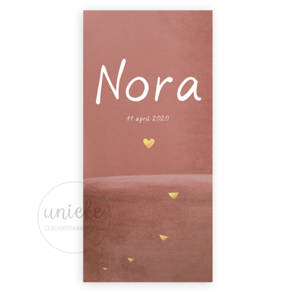 Voorkant van het kaartje van Nora