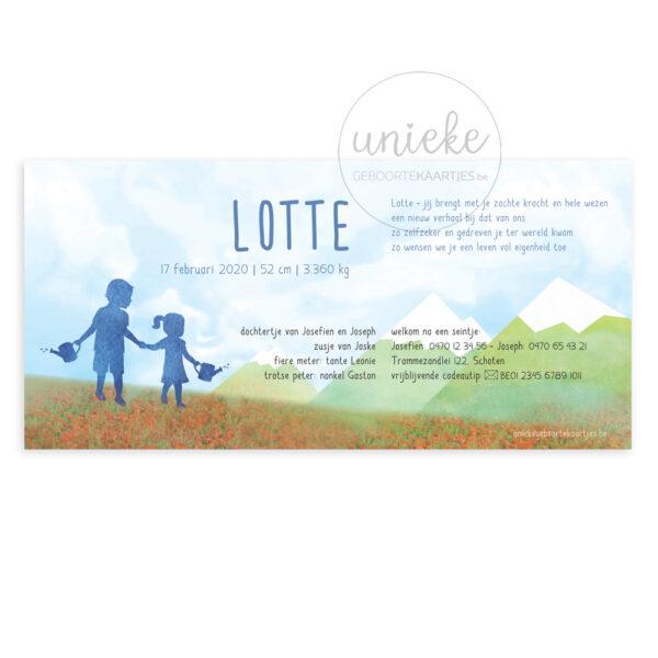 Achterkant van het geboortekaartje van Lotte