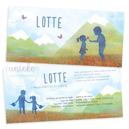 Voor- en achterkant van het geboortekaartje van Lotte