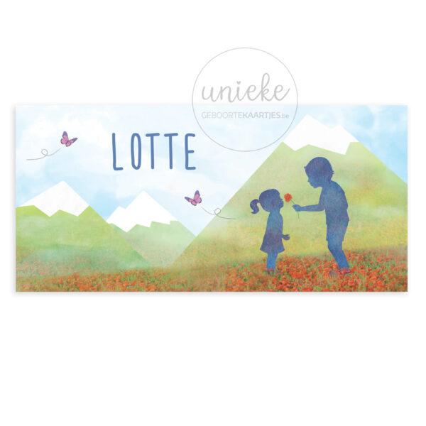 Voorkant van het geboortekaartje van Lotte