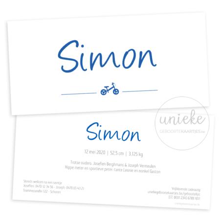Voorkant en achterkant van het kaartje van Simon