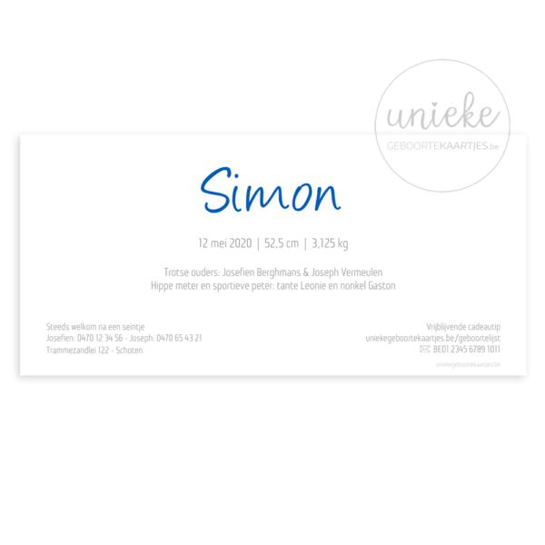 Achterkant van het kaartje van Simon