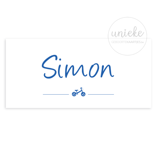 Voorkant van het kaartje van Simon