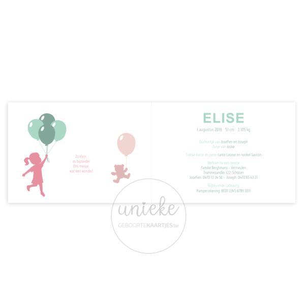 Binnenkant van het kaartje van Elise