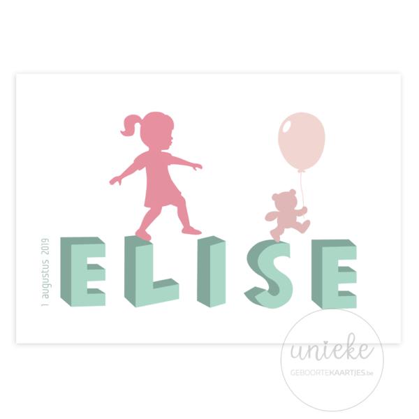 Voorkant van het kaartje van Elise