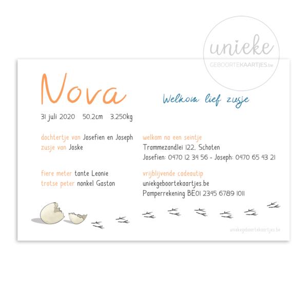 Achterkant van het kaartje van Nova
