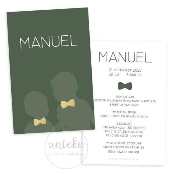 Voorkant en achterkant van het geboortekaartje van Manuel