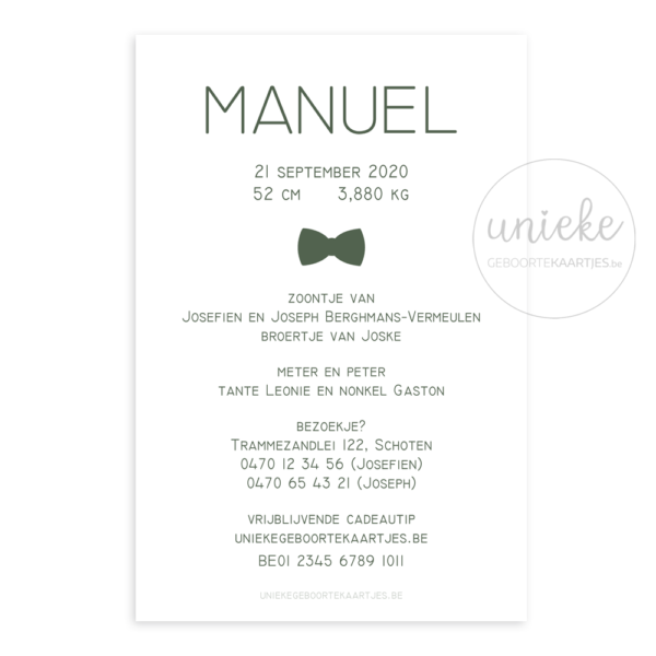 Achterkant van het kaartje van Manuel