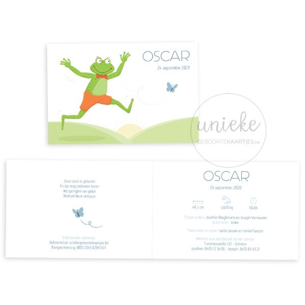 Voorkant en binnenkant van het kaartje van Oscar