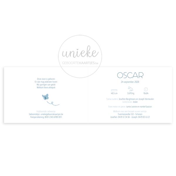 Binnenkant van het kaartje van Oscar
