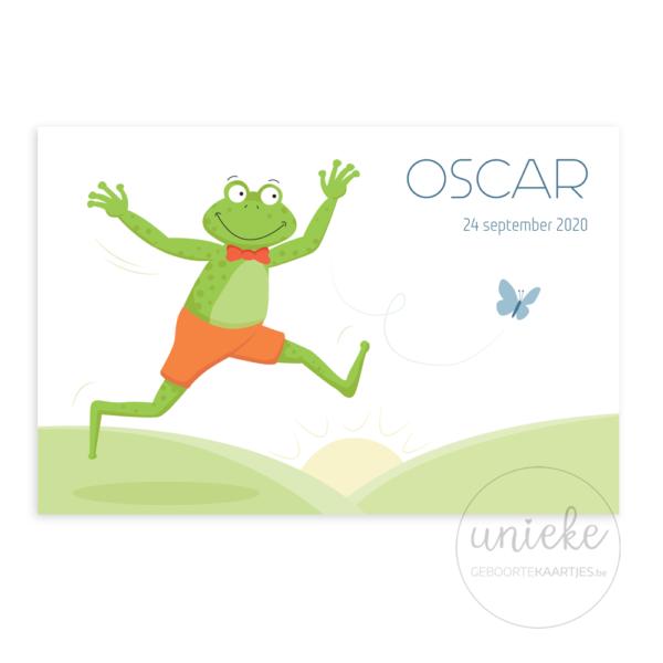 De voorkant van het kaartje van Oscar