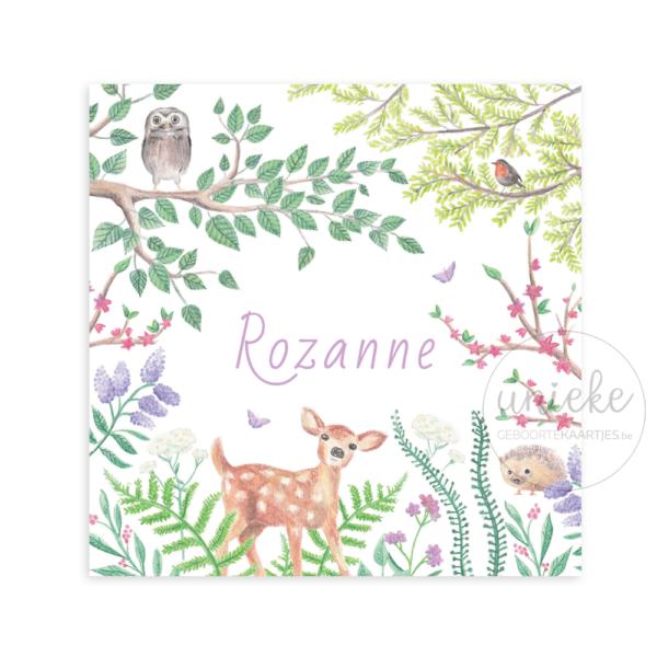 Voorkant van het kaartje van Rozanne