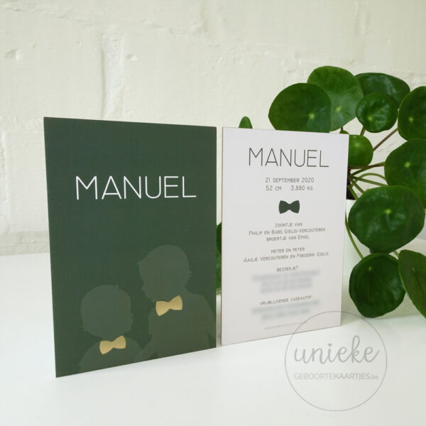 Geboortekaartje van Manuel op foto