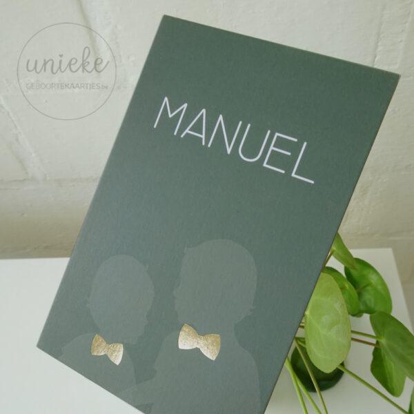 Goudfolie van het kaartje van Manuel
