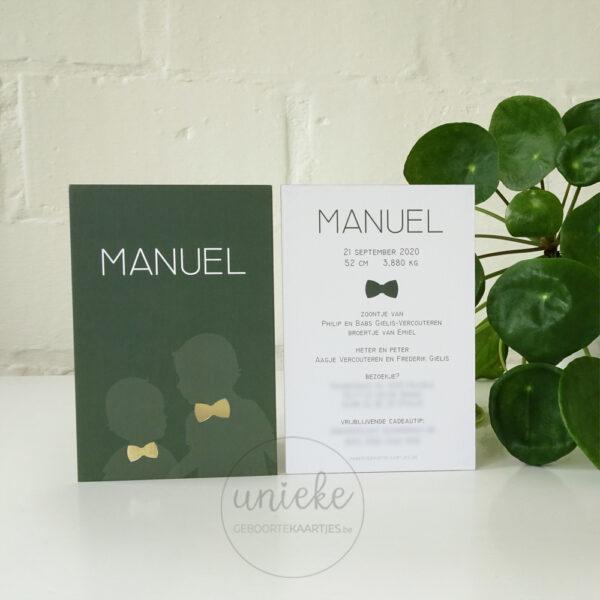 Voorkant en achterkant van het kaartje van Manuel