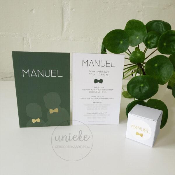 Kaartje en doopsuiker van Manuel