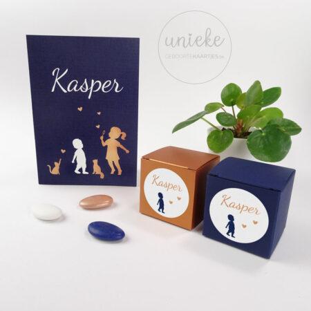Ronde sticker voor het doopsuiker van Kasper