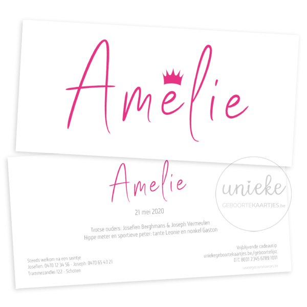 Voorkant en achterkant van het geboortekaartje van Amelie