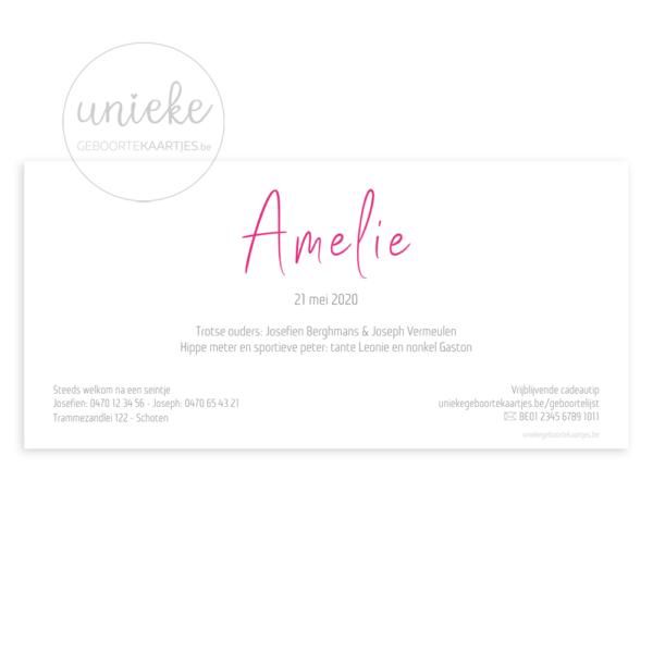 Achterkant van het geboortekaartje van Amelie