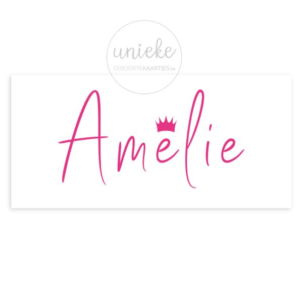 Voorkant van het geboortekaartje van Amelie