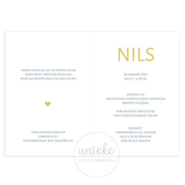 Binnenkant van het kaartje van Nils