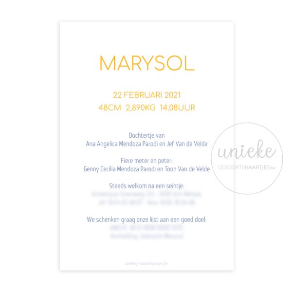 Achterkant van het kaartje van Marysol