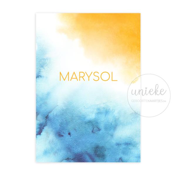 Voorkant van het kaartje van Marysol