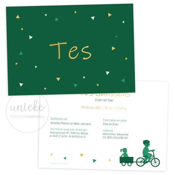 Voorkant en achterkant van het geboortekaartje van Tes